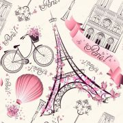 Papel De Parede Adesivo Menina Paris Rosa