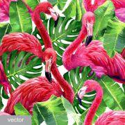 Papel De Parede Adesivo Tropical Flamingos mod02
