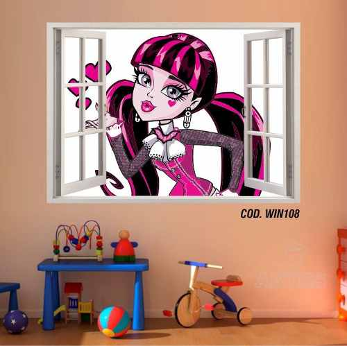 Adesivo Parede Janela 3D Monster High Boo York mod04