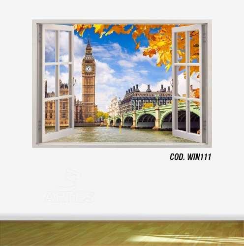 Adesivo Parede Janela 3D Cidade Londres mod01