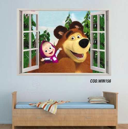 Adesivo Parede Janela 3D Masha E O Urso mod01