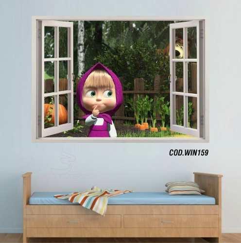 Adesivo Parede Janela 3D Masha E O Urso mod02