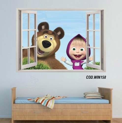 Adesivo Parede Janela 3D Masha E O Urso mod03