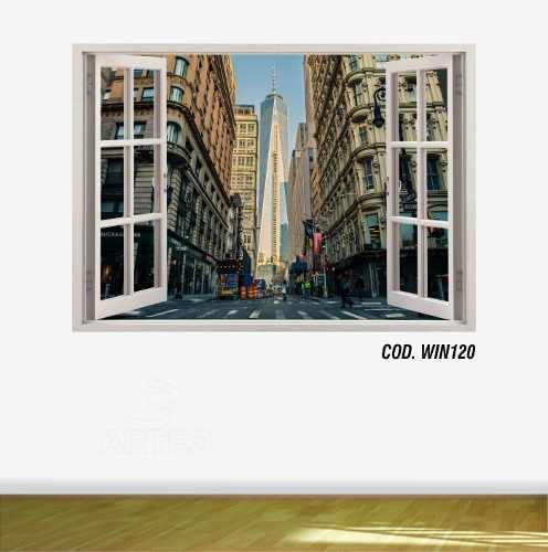 Adesivo Parede Janela 3D Cidade Nova York Ny mod02