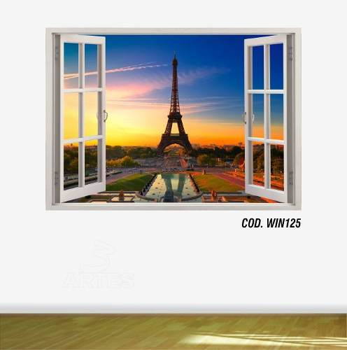 Adesivo Parede Janela 3D Cidade Paris mod01