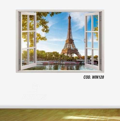 Adesivo Parede Janela 3D Cidade Paris mod03