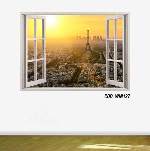 Adesivo Parede Janela 3D Cidade Paris #04