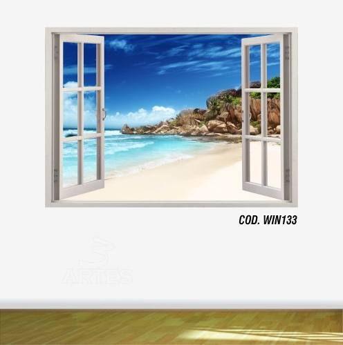 Adesivo Parede Janela 3D Praia Paraíso mod04