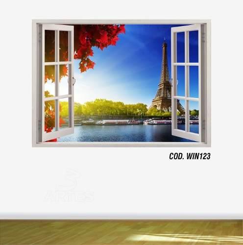 Adesivo Parede Janela 3D Cidade Paris mod06