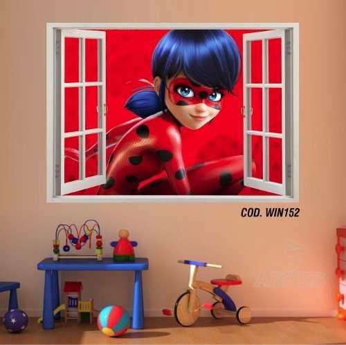Adesivo Parede Janela 3D Miraculous Ladybug mod02