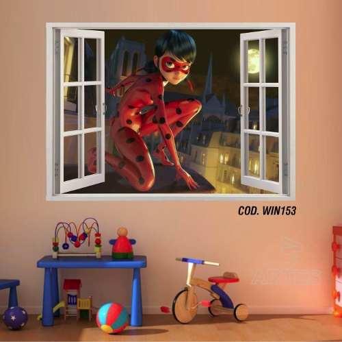 Adesivo Parede Janela 3D Miraculous Ladybug mod03