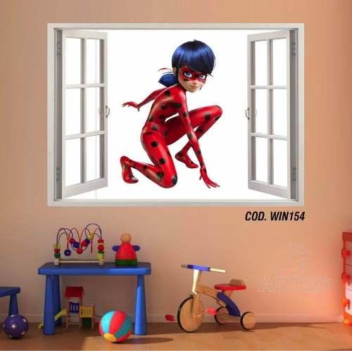 Adesivo Parede Janela 3D Miraculous Ladybug mod04