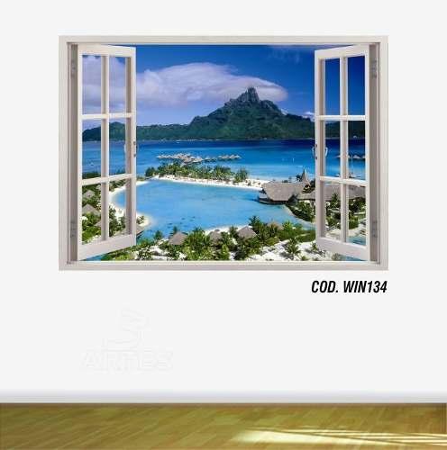 Adesivo Parede Janela 3D Praia Paraíso mod06