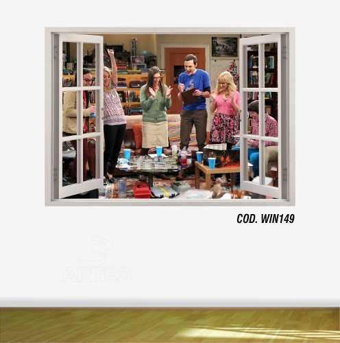 Adesivo Parede Janela 3D The Big Bang Theory mod01
