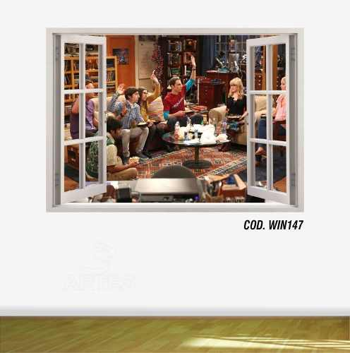 Adesivo Parede Janela 3D The Big Bang Theory mod03