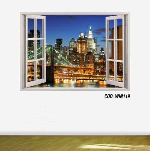 Adesivo Parede Janela 3D Cidade Nova York Ny #06