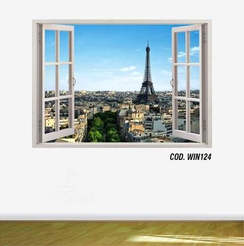 Adesivo Parede Janela 3D Cidade Paris mod08