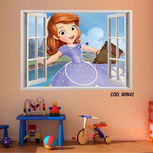Adesivo Parede Janela 3D Princesinha Sofia mod01