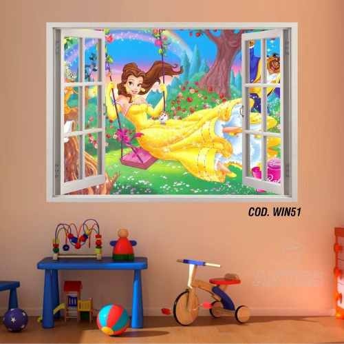 Adesivo Parede Janela 3D Princesas Bela