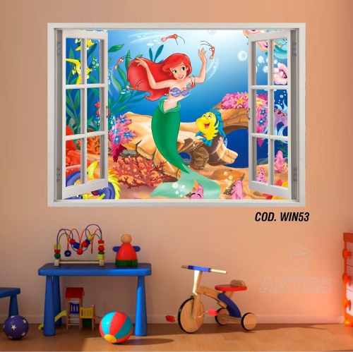Adesivo Parede Janela 3D Princesas Ariel