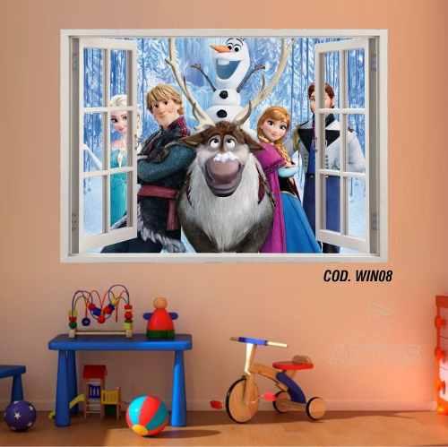 Adesivo Parede Janela 3D Frozen Ana Elsa mod01