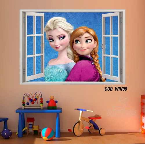 Adesivo Parede Janela 3D Frozen Ana Elsa #02