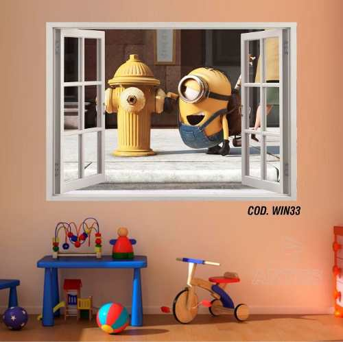 Adesivo Parede Janela 3D Minions #03