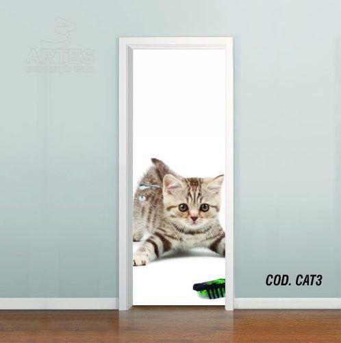 Adesivo De Porta Gato Cat Puppy Felino mod03