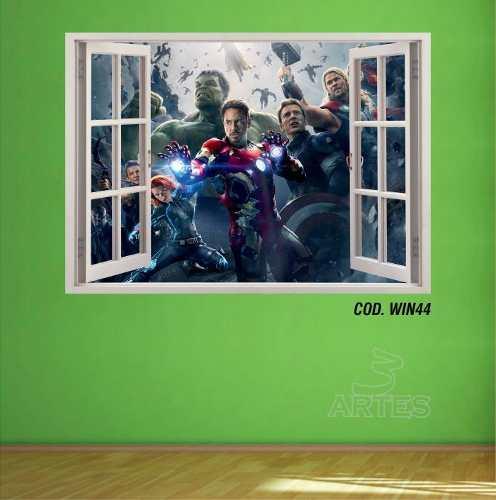 Adesivo Parede Janela 3D Vingadores Avengers mod02