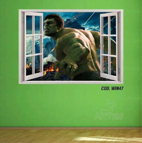 Adesivo Parede Janela 3D Vingadores Hulk
