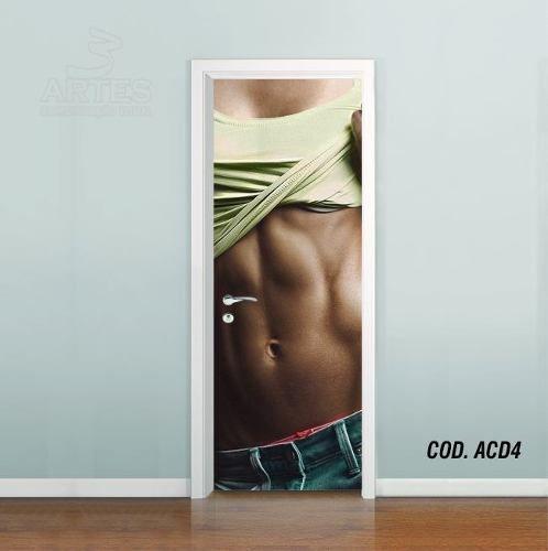 Adesivo De Porta Academia Fitness Musculação mod04