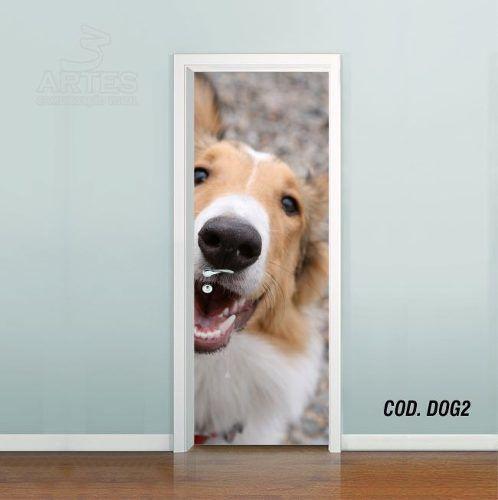 Adesivo De Porta Cachorro Pet Dog Puppy #02