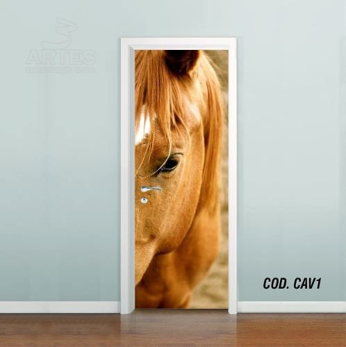 Adesivo De Porta Cavalo Égua Fazenda mod01