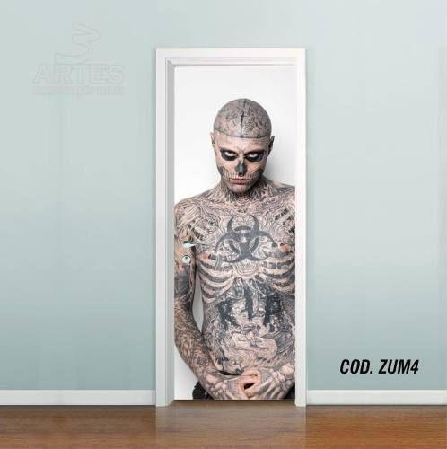 Adesivo De Porta Zombie Boy Caveira