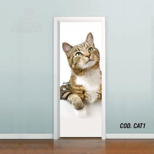 Adesivo De Porta Gato Cat Puppy Felino mod01