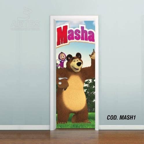 Adesivo De Porta Masha E O Urso mod01