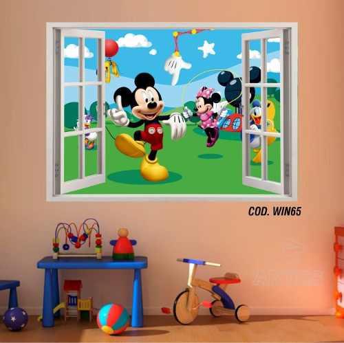 Adesivo Parede Janela 3D Mickey Minie #01