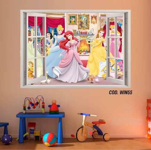 Adesivo Parede Janela 3D Princesas