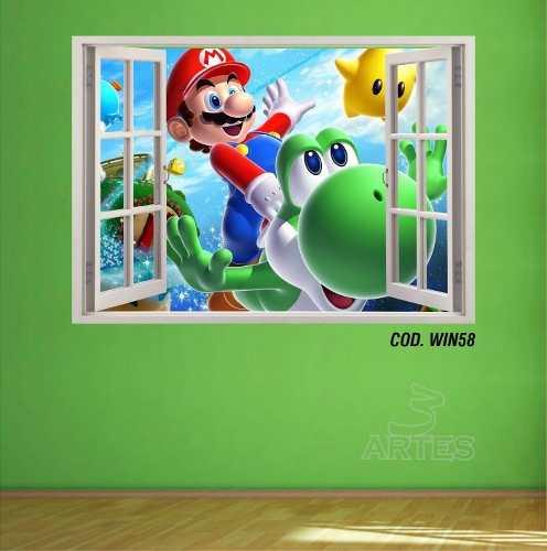Adesivo Parede Janela 3D Super Mario Bross mod03