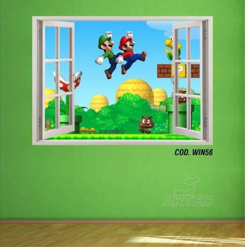 Adesivo Parede Janela 3D Super Mario Bross mod04