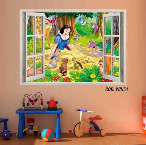 Adesivo Parede Janela 3D Princesas Branca Neve