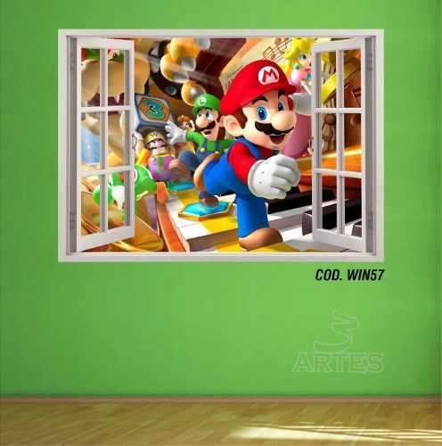 Adesivo Parede Janela 3D Super Mario Bross mod05