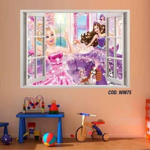 Adesivo Parede Janela 3D Barbie Princesa #03