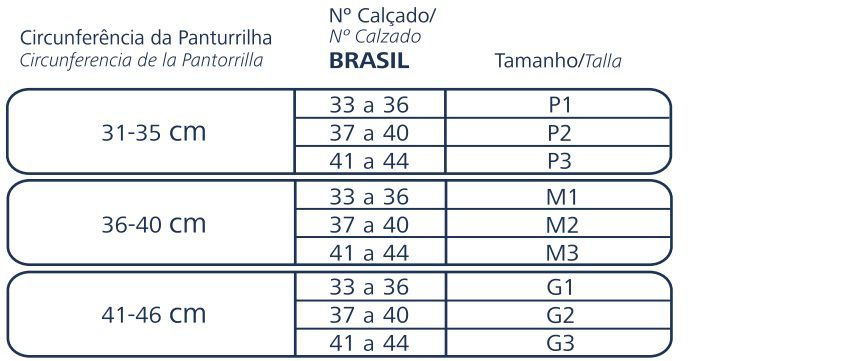 Meia 3/4 panturrilha casual 20/30 Mmhg