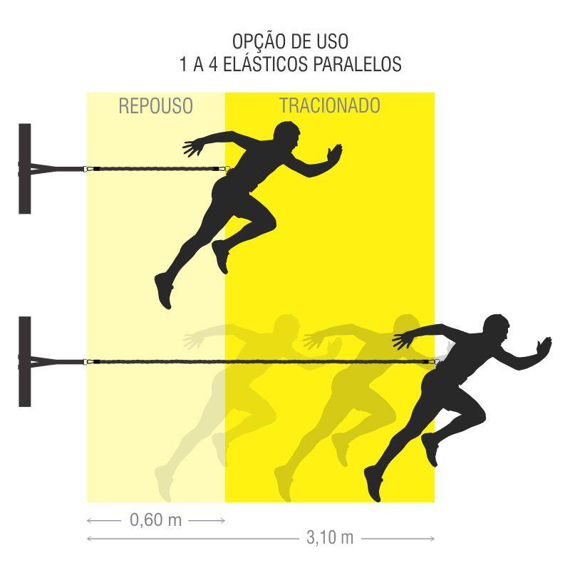 Cinto de Tração Ajustável 4 Elásticos 60Cm Duplo Simples