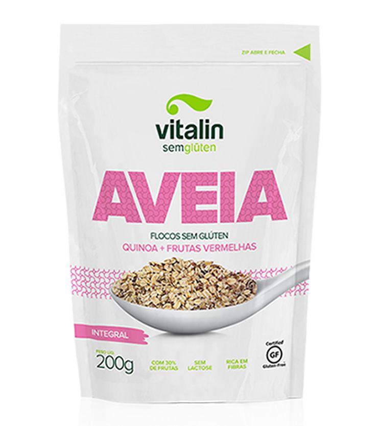 Aveia em Flocos com Quinoa e Frutas Vermelhas 200g - Vitalin Sem glúten
