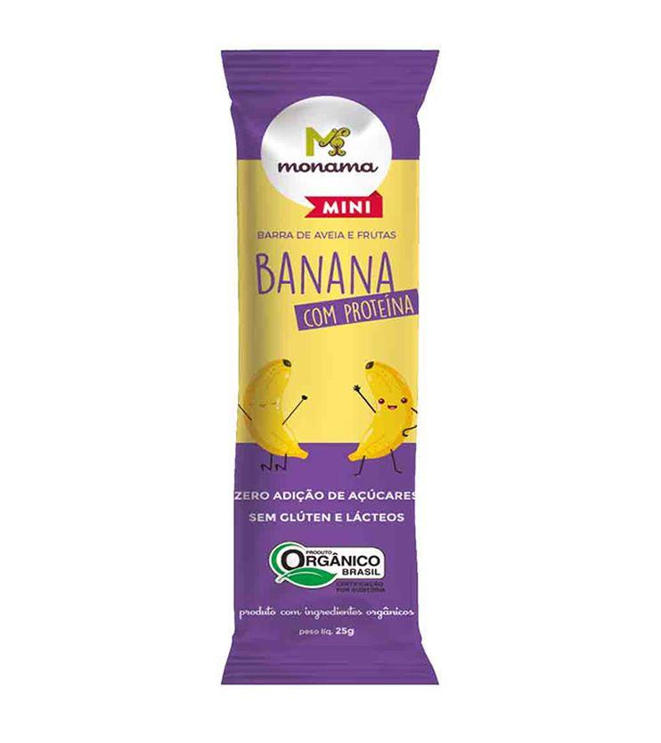 Barrinha de Aveia e Banana com Proteína Orgânica 25g - Monama Mini