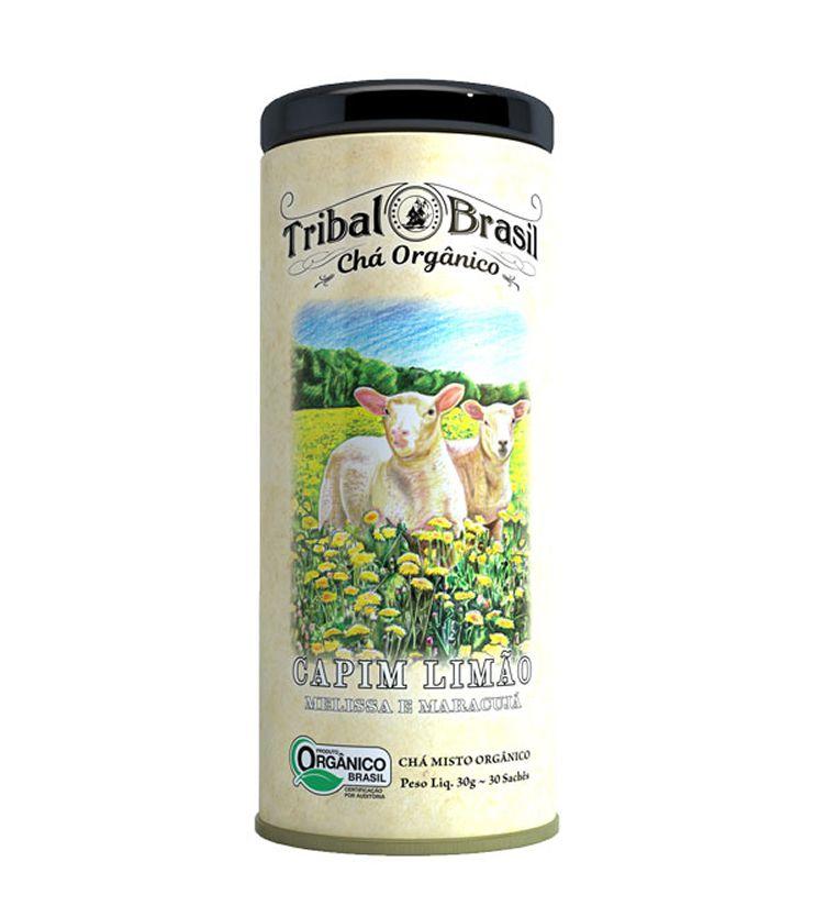 Chá Orgânico Capim Limão, Melissa e Maracujá lata 30 Sachês 60g - Tribal Brasil