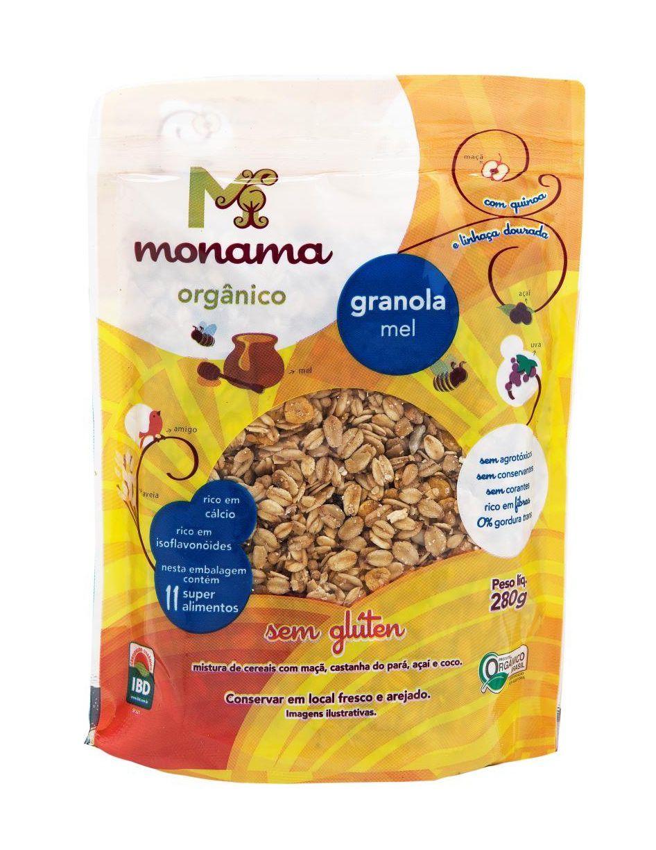 Granola Orgânica Aveia e Mel Sem Glúten 200g - Monama