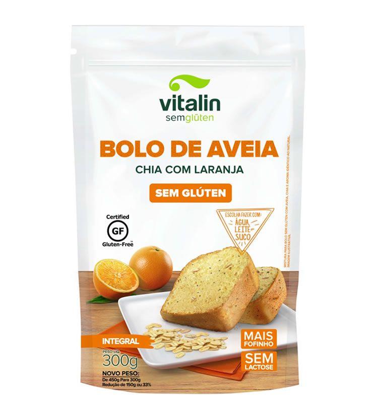 Mistura para Bolo de Aveia Chia com Laranja - Vitalin Sem glúten
